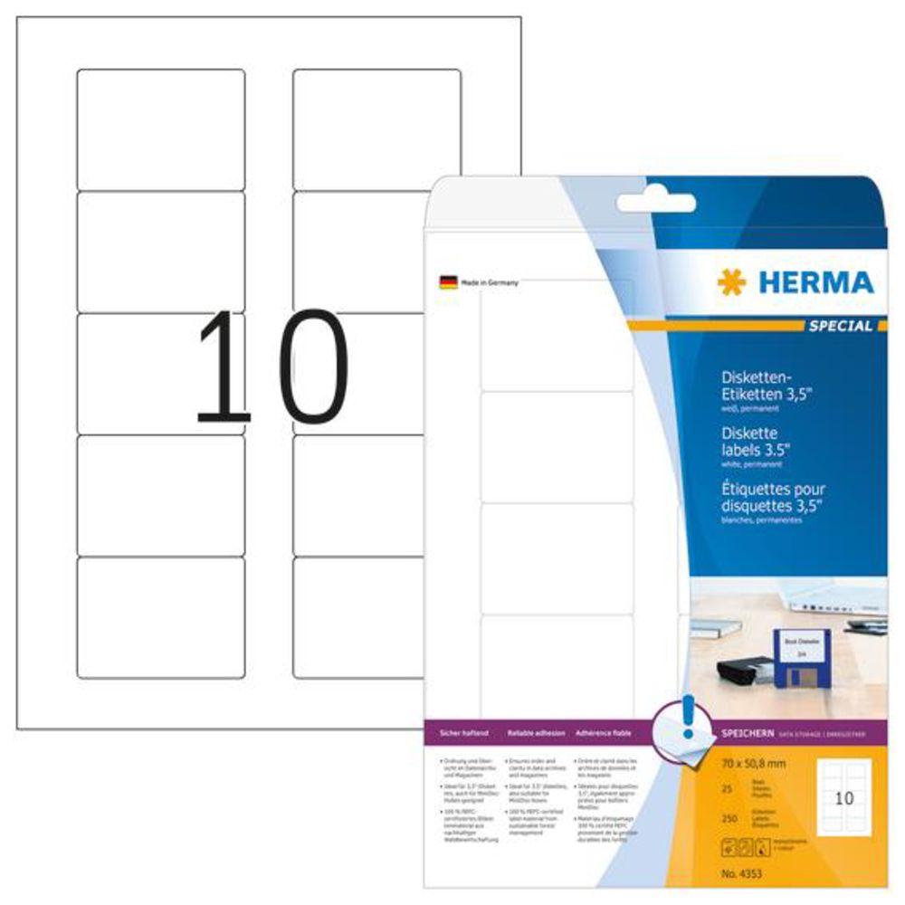 Herma 4353 disketten etiketten a4 70x50 8mm 250 st ck for Fenster 70x50