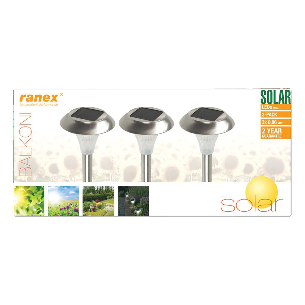 ranex ra outdoor20 ranex 3 led solar gartenleuchten mit ebay. Black Bedroom Furniture Sets. Home Design Ideas