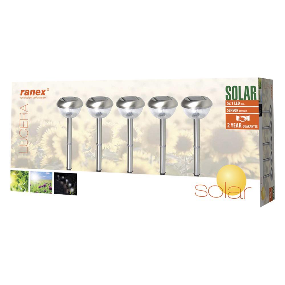 ranex ra outdoor21 ranex 5 led solar gartenleuchten mit ebay. Black Bedroom Furniture Sets. Home Design Ideas