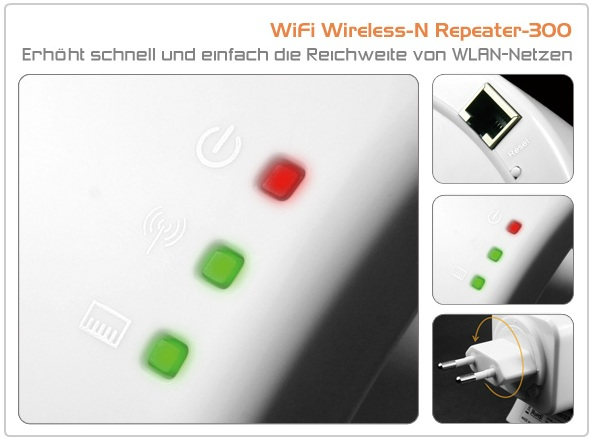 technaxx wifi wireless n repeater 300 wlan verst rker 4260101734440 ebay. Black Bedroom Furniture Sets. Home Design Ideas