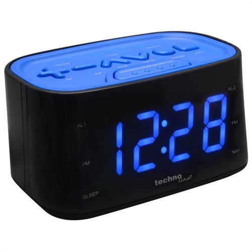 technoline wt 465 led design radiowecker digital 2 weckzeiten gr n wei blau ebay. Black Bedroom Furniture Sets. Home Design Ideas