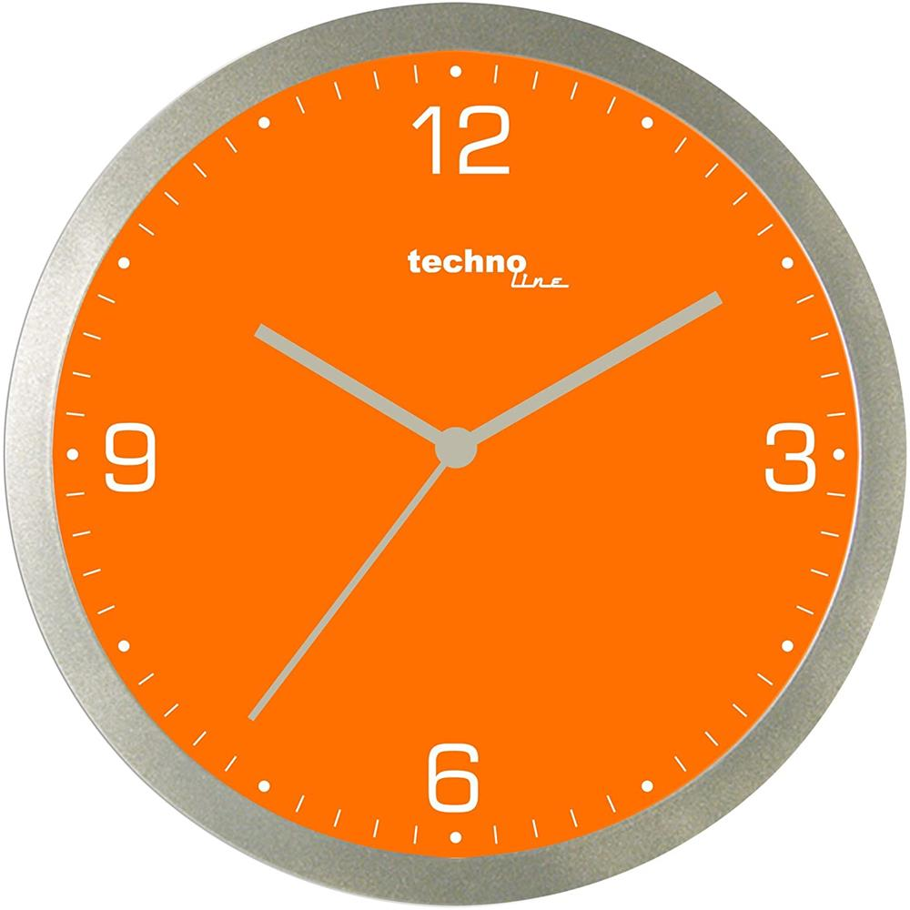 technoline wt 9000 quarz wanduhr orange durchmesser 30 cm. Black Bedroom Furniture Sets. Home Design Ideas