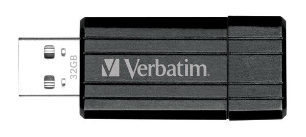 32GB-Verbatim-USB-Stick-PinStripe-USB-2-0-HighSpeed-Speicherstick-schwarz-NEU