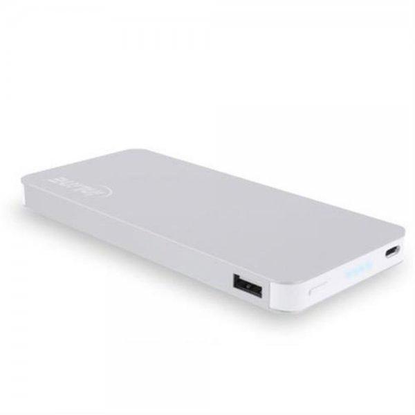 InLine USB Zusatzakku Powerbank 10000mAh Mobiles Ladegerät Akku LED silber Smartphone Tablet iPad