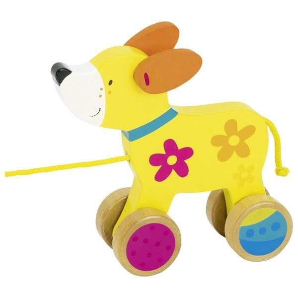 Goki Ziehtier Hund Susibelle Kollektion Nachziehtier Lauf Schnur Holzspielzeug