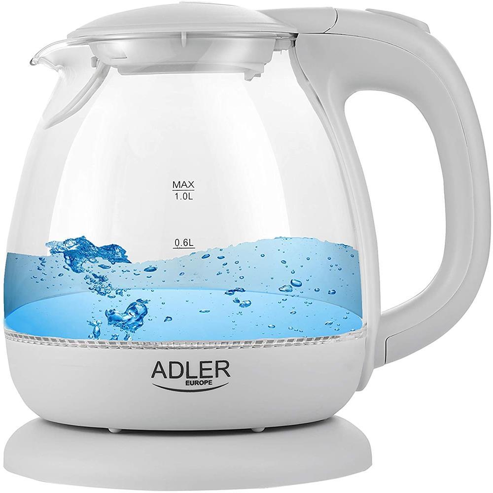 Indexbild 2 - Adler AD 1283G Glas Wasserkocher 1 L LED Beleuchtung Krug Optik Design kabellos