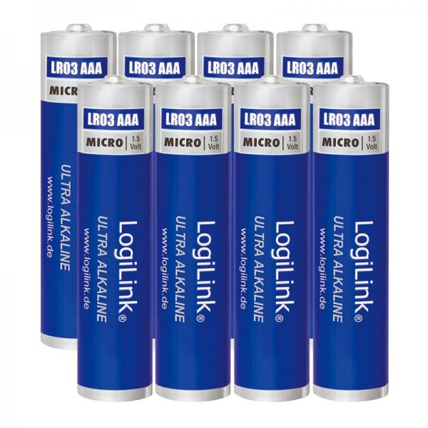 LogiLink Ultra Power AAA Alkaline Batterie LR03 Micro 1.5V, 8er Pack