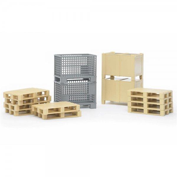 Bruder, Logistik-Set, 1 Kiste, 10 Euro-Paletten 2 Gitterboxen ZUBEHÖR NEU