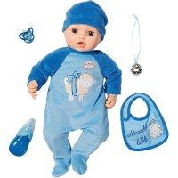 Zapf Creation Baby Annabell Puppe 43 cm blau Alexander mit lebensechten Funktionen und Zubehör