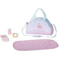 Zapf Creation 703151 Baby Annabell Wickeltasche mit Wickelunterlage, Windel, Puderdose und Beißring, Puppenzubehör 36-43 cm