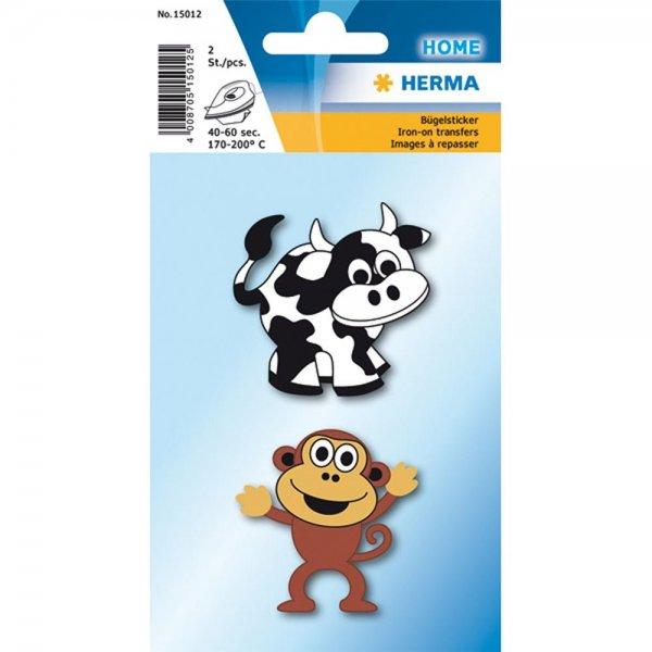 """HERMA Bügelbilder für Kids """"Kuh + Affe"""" Stoff 2 Stück zum aufbügeln Bügelsticker"""