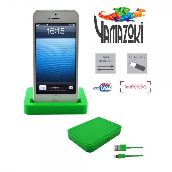 Yamazoki Dockingstation für iPhone 5 / S grün Lightning USB Lade Kabel