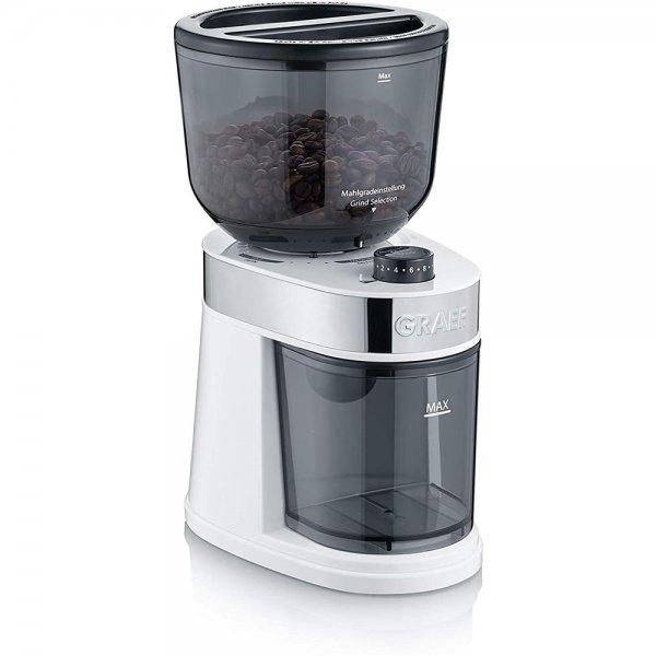 GRAEF elektrische Kaffeemühle CM 201 Weiß 18 Mahlgradeinstellungen fein - grob 1–14 Tassen kompakt