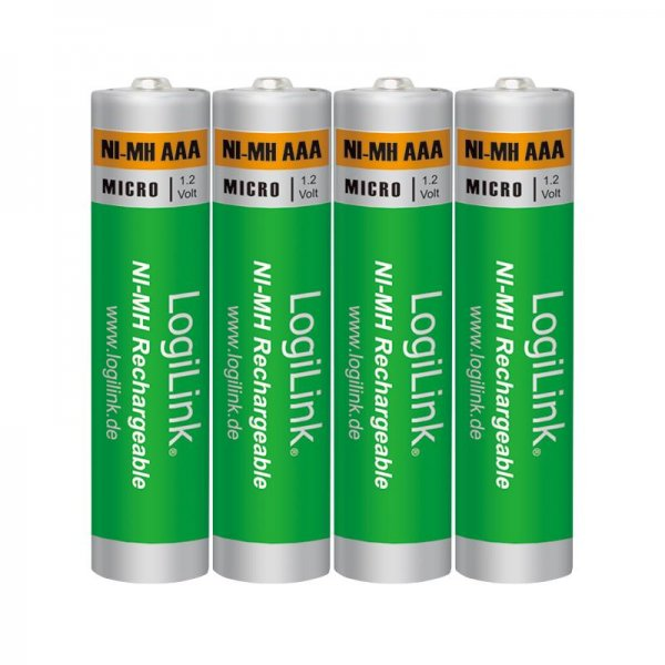 LogiLink LR03RB4 wiederaufladbare AAA NiMH-Akkus Micro 1.2V 1000 mAh 4er Pack