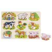 Goki Steckpuzzle Tierstimmen Bauernhof Holz Puzzle Holzpuzzle Spielzeug