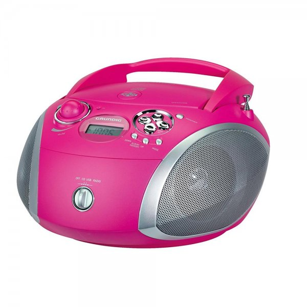 Grundig GRB 2000 Tragbares CD Radio Boombox Pink