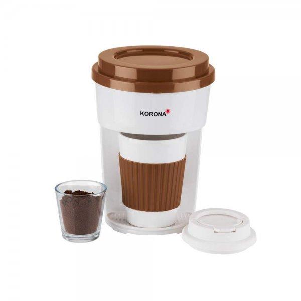 KORONA Kaffee to Go Kaffeemaschine Braun/Weiß mit Becher Filter-Kaffeeautomat