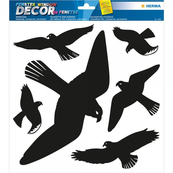 HERMA 5999 Fensterbild Warnvögel schwarz Aufkleber aus wetterfester Hartfolie
