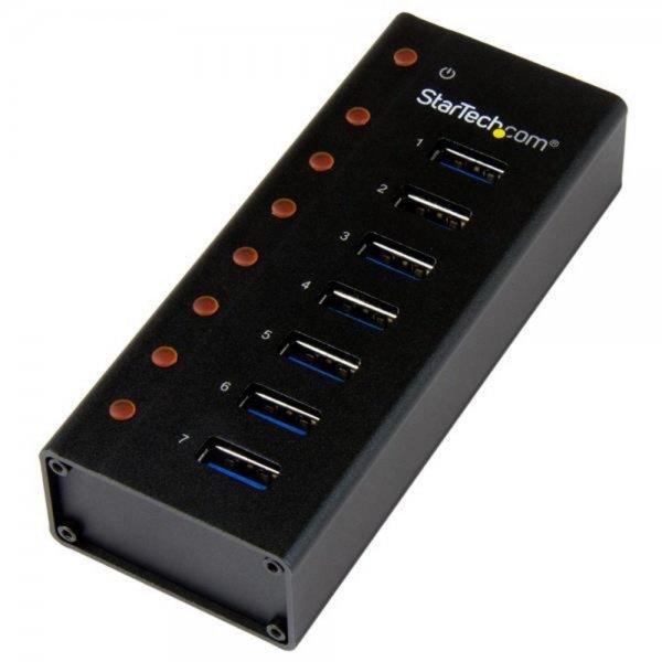 StarTech.com 7 Port USB 3.0 Hub - Metallgehäuse - Desktop oder Wandmontierbar
