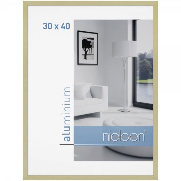 Nielsen C2 Bilderrahmen Gold matt 30x40 Aluminiumrahmen Foto Rahmen Aluminium Struktur | 63065