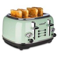 KORONA 4-Scheiben-Toaster Mint-Grün Vintage-Design Retro-Optik Brötchenaufsatz Auftaufunktion