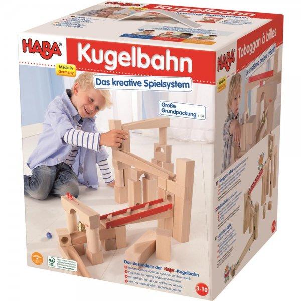 HABA 1136 - Kugelbahn-Bausatz - Made in Germany Buchenholz Murmeln Glöckchen NEU