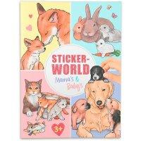 Depesche 11403 Stickerworld Malbuch Mamas und Babys mit Tieren und Tierkindern ca. 18 x 24,5 x 0,5 cm