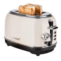 KORONA 2-Scheiben-Toaster Creme-Beige Vintage-Design Retro-Optik Brötchenaufsatz Auftaufunktion