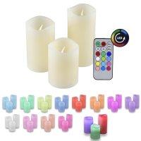 IOIO 3er LED Kerzen-Set mit Fernbedienung Farbwechsel