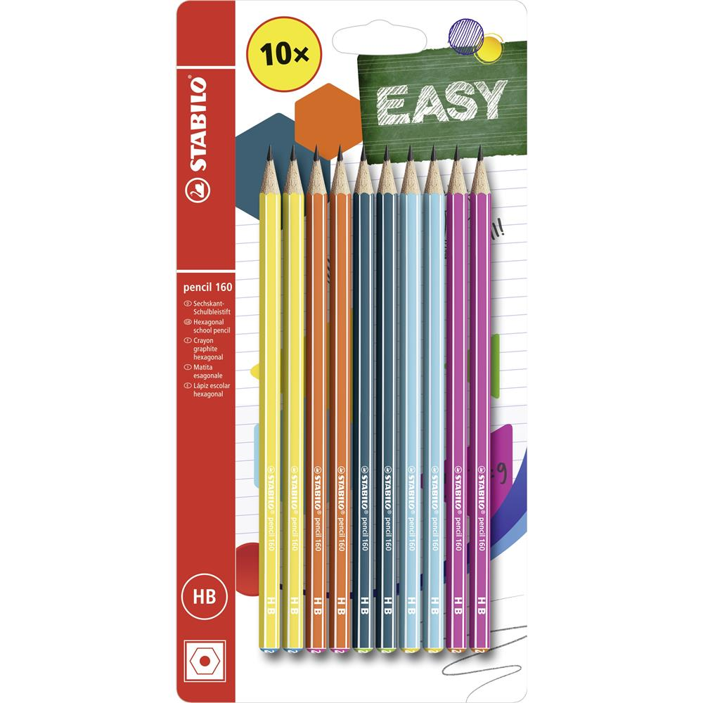 Faber Castell Bleistift Grip 2001 B HB 10 Stück Schulbleistift 6 Farben