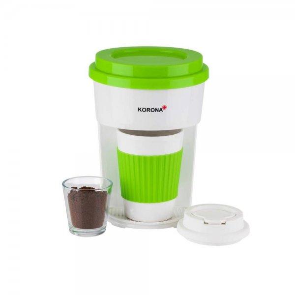 KORONA Kaffee to Go Kaffeemaschine Grün/Weiß mit Becher Filter-Kaffeeautomat Coffee to Go