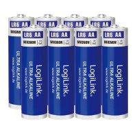 LogiLink Ultra Power AA Alkaline Batterie LR6 Mignon 1.5V, 8er Pack