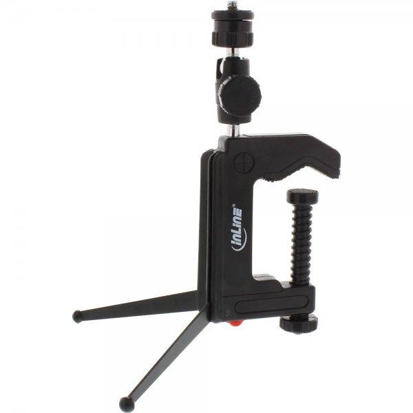 InLine ® Tisch-Stativ 190mm mit Schraubzwinge, schwarz
