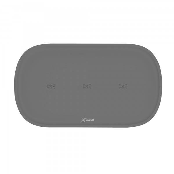 XLayer Ladegerät Wireless Charging Pad Family Triple Anthracite Smartphones/Tablets