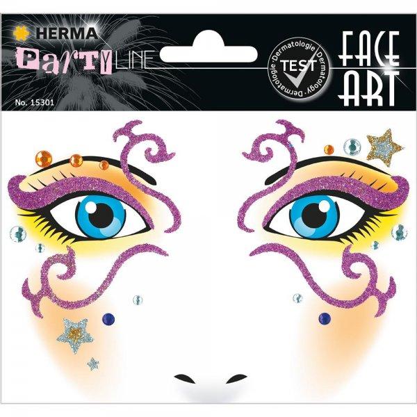 HERMA 15301 Face Art Sticker Mystery Body-Tattoo Gesicht-Maske Halloween Fasching Party