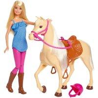 Mattel Barbie FXG94 FXH13 Pferd mit Mähne und Puppe bewegliche Knie Puppen Spielzeug Puppenzubehör