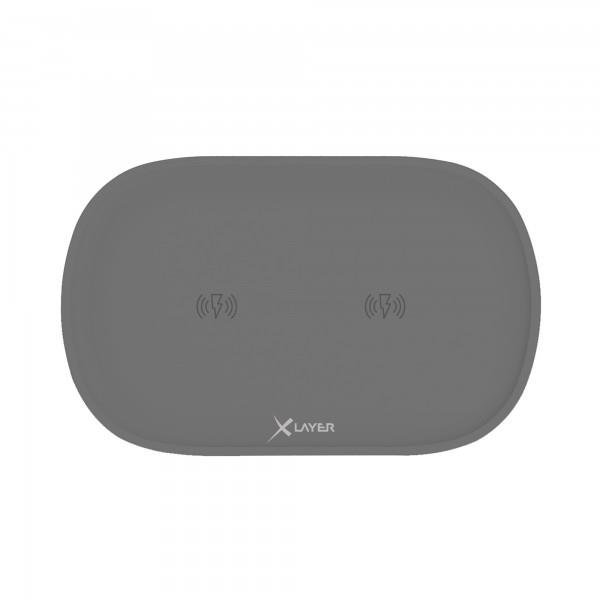 XLayer Ladegerät Wireless Charging Pad Family Double Anthracite Smartphones/Tablets