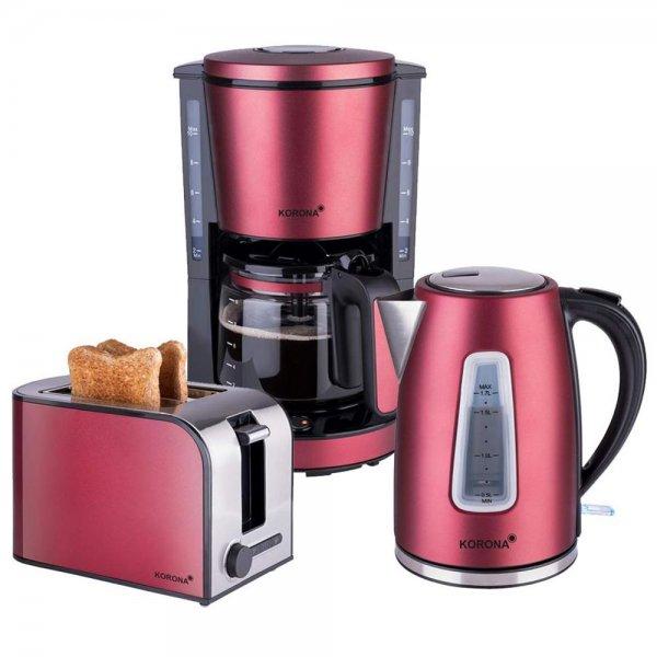KORONA Frühstücksset Küchenset Kaffeemaschine + 2-Scheiben-Toaster + Wasserkocher Rubinrot