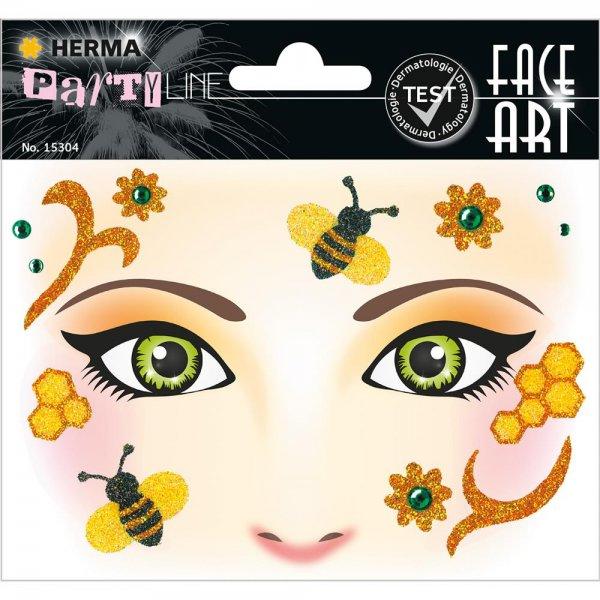 HERMA 15304 Face Art Sticker Honey bee Body-Tattoo Gesicht-Maske Halloween Fasching Party