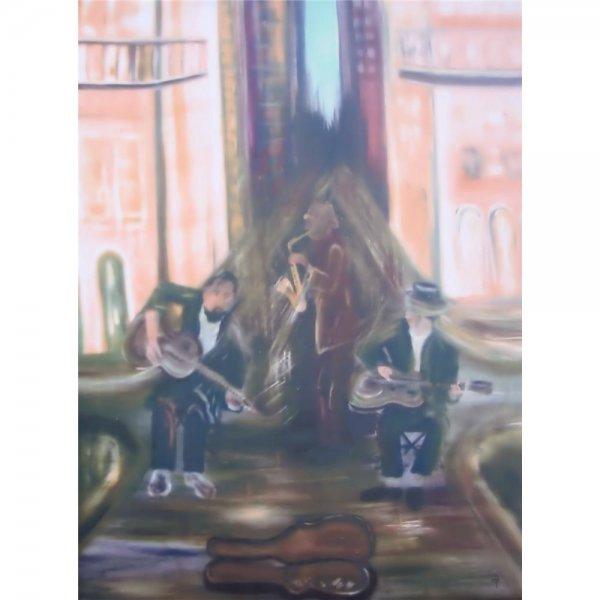 ÖL auf Leinwand 60 x 80 cm - Jazz in New Orleans - Limitierte Auflage signiert