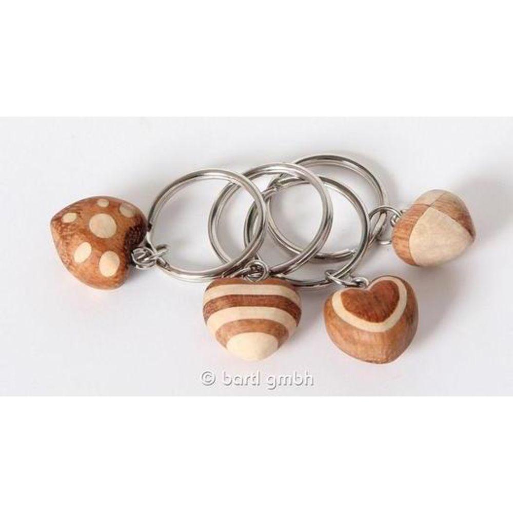 Bartl Schlüsselanhänger Mini-Holz-Herz Schlüsselring 1 Stück sortiert