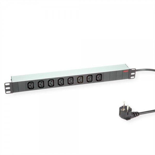 """ROLINE 19""""-Einbau-Steckdosenleiste 8fach C13 + Schutzkontakt-Stecker Aluminium 2 m"""