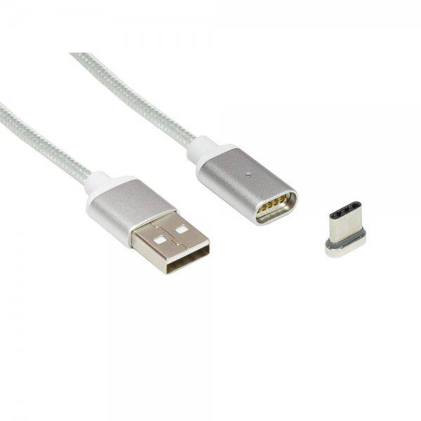 ZOIG magnetisches USB-C Daten- / Ladekabel 1m silber für Smartphone, Tablet KU03