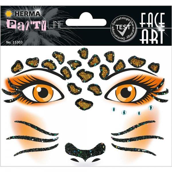 HERMA 15303 Face Art Sticker Leopard Body-Tattoo Gesicht-Maske Halloween Fasching Party