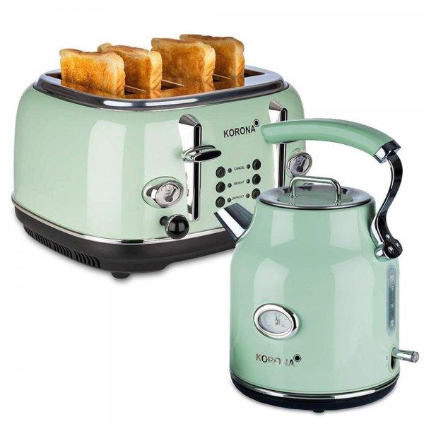 KORONA Küchenset Wasserkocher 4 fach Toaster Retro-Optik Mint