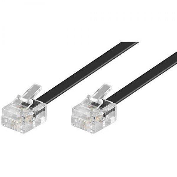 Goobay TEL 6P4C/RJ11 1500 BLACK 15m Modularanschlußkabel