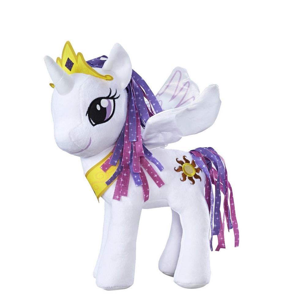 Hasbro 21EU40 - My Little Pony Plüsch Prinzessinnen weiß oder blau 30 cm groß