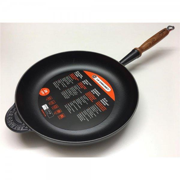 Le Creuset Bratpfanne 28cm schwarz Gusseisen mit Holzgriff