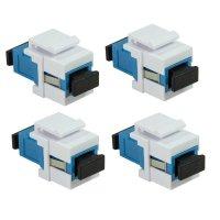 LogiLink 4er Set Professional Keystone Glasfaser Verbinder Kupplung SC-Simplex Singlemode blue/white