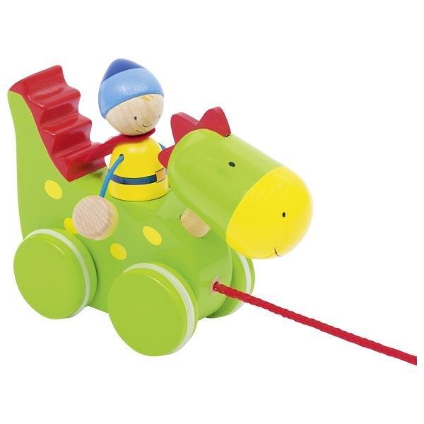Goki Ziehtier Drache und Ritter Holzspielzeug Nachziehtier Kinderspielzeug Kleinkind